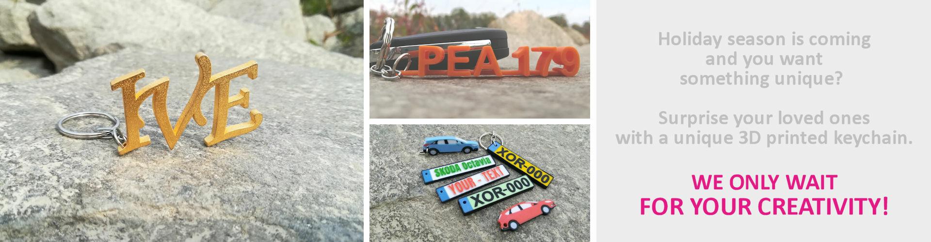 Custom 3D Printed Keychains