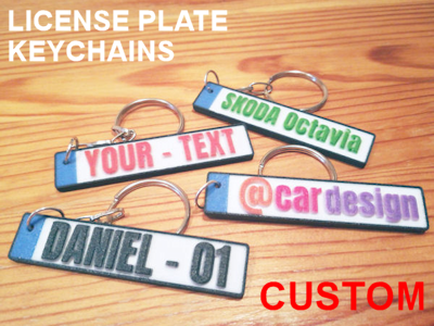 Custom license plate keychains - 3D printed gift ideas