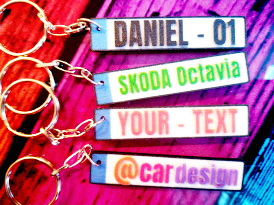 License Plate Keychains with personalised text