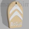 "Picture 2/2 -Custom Car Keychain ""BöGyö"" - (40x49x4 mm) - Multicolor - composite powder - stone/white"
