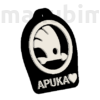 "Picture 2/2 -Custom Car Keychain ""Apuka"" - (48x40x4 mm) - PLA- plastic - black/white"