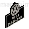 "Picture 2/2 -Custom Car Keychain ""Misi"" - (70x67x4 mm) - PLA - plastic - black/grey"