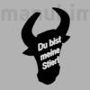 "Picture 2/2 -Custom Keychain ""Bull"" (46x55x4 mm) - PLA plastic, black/white"