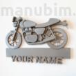 Motorkerékpáros egyedi névtábla