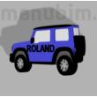 """Custom Car Keychain """"Roland"""" - (52x25x5 mm) - Multicolor - composite powder - blue"""