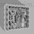 """Egyedi szíves sütemény kiszúró """"Reni&Roli""""  - 60 x 47 x 8 mm - PLA, műanyag"""
