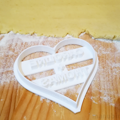 Heart-Shaped Cookie Cutter with Custom Text - 3d printed