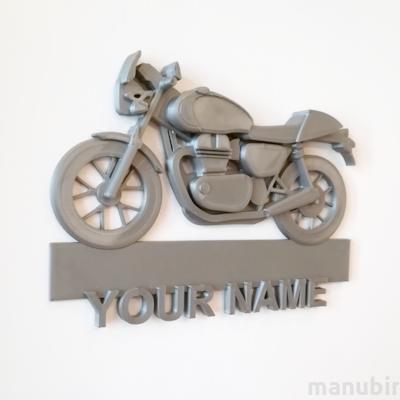 Motorbike Custom Door Plate - 3D printed gift