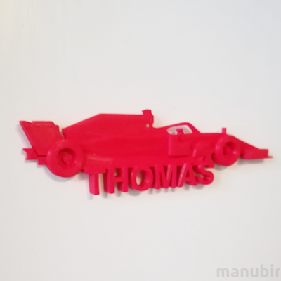 Racing Car Custom Door Plate - 3D printed