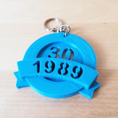Custom 3D Printed Anniversary Keychain