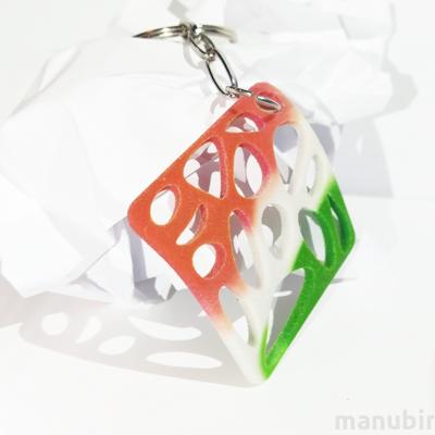 Curved Rectangular Voronoi Keychain