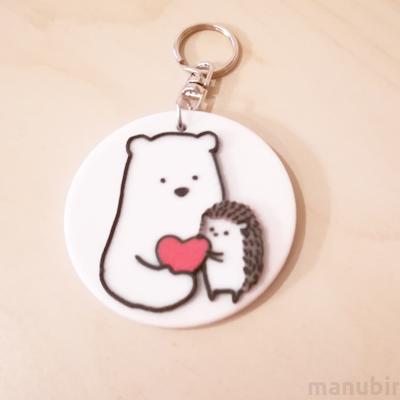 Teddy bear and Hedgehog Keychain - with custom text option