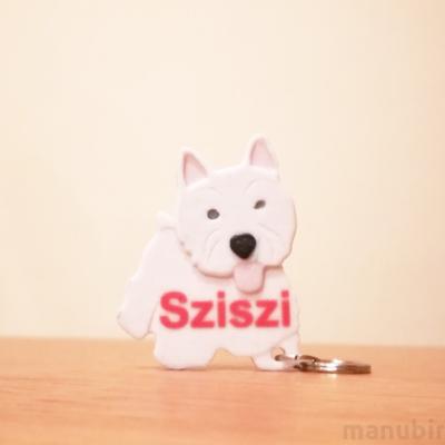 Westie Dog Keychain - with custom text option