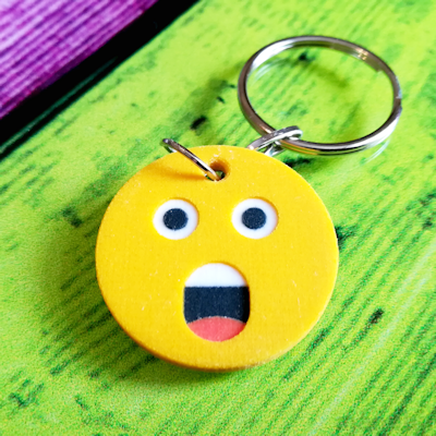 3d printed Astonished Face Emoji Keychain
