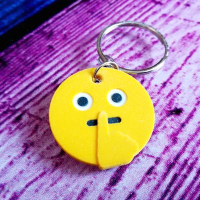 Keep Quiet Emoji Keychain - 3d printed keychain