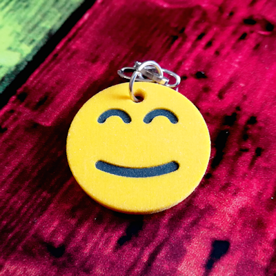 Smiling Face With Smiling Eyes Emoji Keychain - 3d printed product