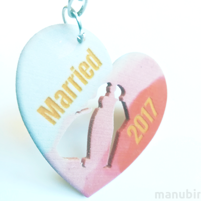 Heart Shaped Keychain with Girl and Boy