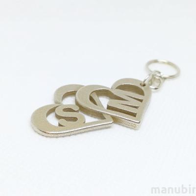 Heart Shaped Metal Keychain with monogram - custom 3d printed