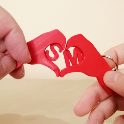 Hand Heart Keychains - 3D Printed Gift