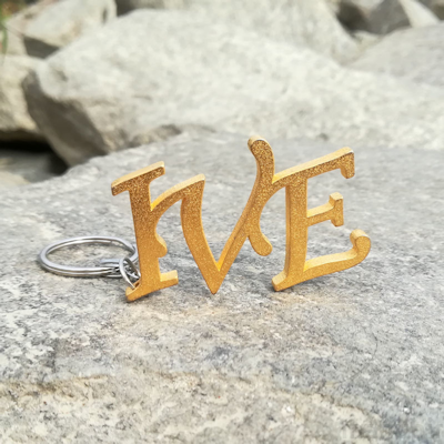 Metal Monogram Keychain - custom 3d printed