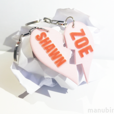 Cutted Heart Shaped Keychain