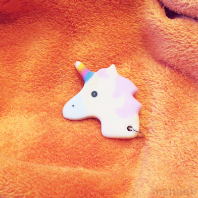 Unicorn keychain cream 3D printed