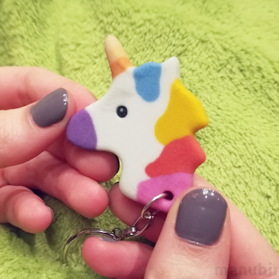Unicorn keychain white 3D printed