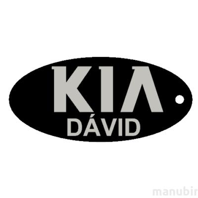 """Egyedi kulcstartó - """"Dávid"""" (60x28x4 mm) - Multicolor, kompozit por, fekete/szürke"""