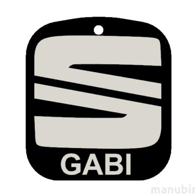 """Egyedi kulcstartó - """"GABI"""" (45x40x4 mm) - Multicolor, kompozit por - fekete/szürke"""