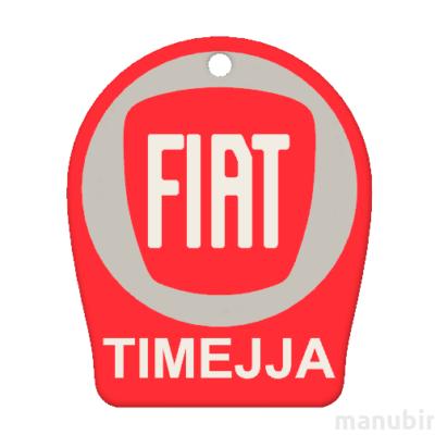 """Egyedi kulcstartó - """"TIMEJJA"""" (48x40x4 mm) - Multicolor, kompozit por - piros/szürke/fehér"""