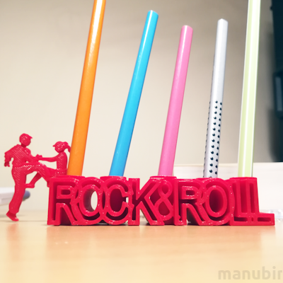 RockAndRoll Pencil Holder - 3D printed
