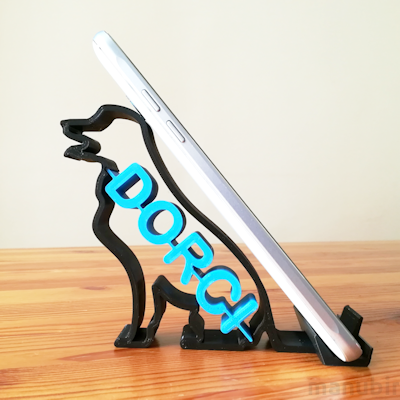 Dog Shaped Phone Holder with Personalised Text - 3d printed
