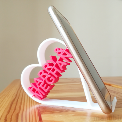 Heart Shaped Phone Holder with Custom Text - 3d printed