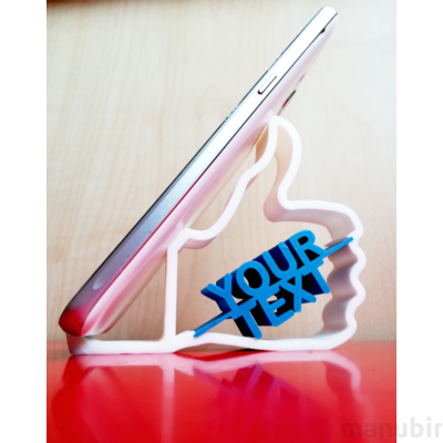 Like Phone Holder with Custom Text - 3d printed