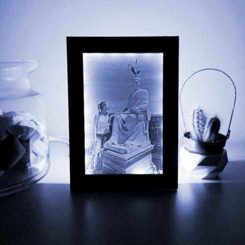 3D Photo in Black Frame with LED light, 10x15 - Lithophane