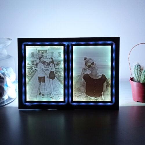 Double 3D Photos in Frame with LED light - Lithophane