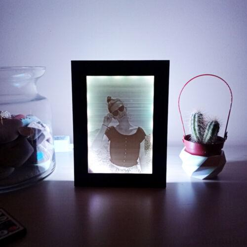 3D Photo in Black Frame with LED light - Lithophane