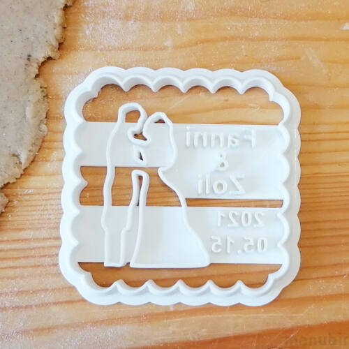 Lovers Cookie Cutter with Custom Text, wedding gift - 3D printed