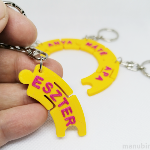 5 Person Family Keychain