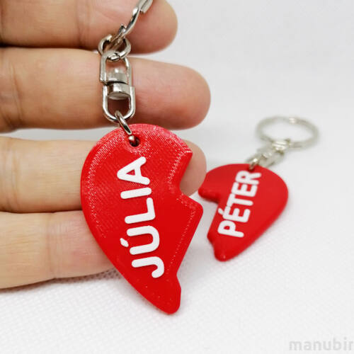 Custom 3D Printed Gifts for Couples - Heart Keychain