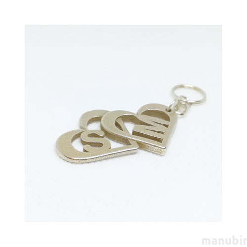 Heart Shaped Metal Keychain with monogram - custom 3d printed