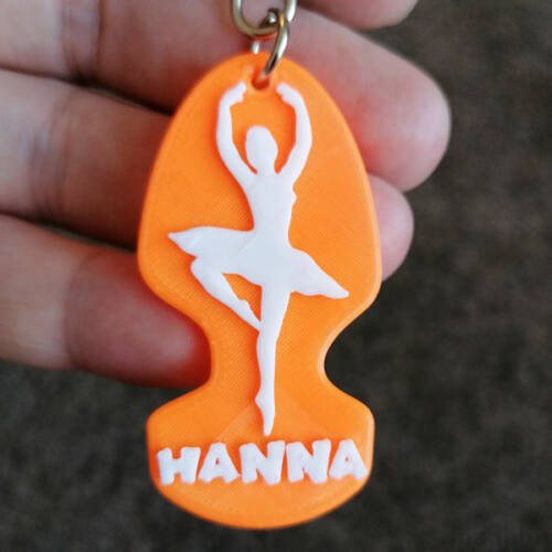 Dancing Woman Keychain with Name
