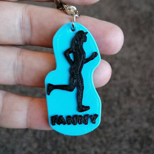 Female Runner Keychain with Name