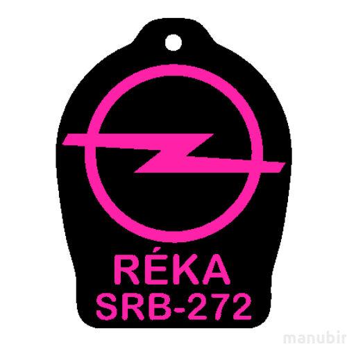 """Custom Keychain - """"Réka"""" (52x40x4 mm) - PLA, plastic, black/pink"""